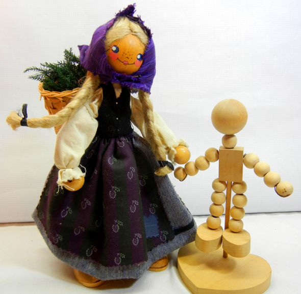 German Wooden Bead Doll